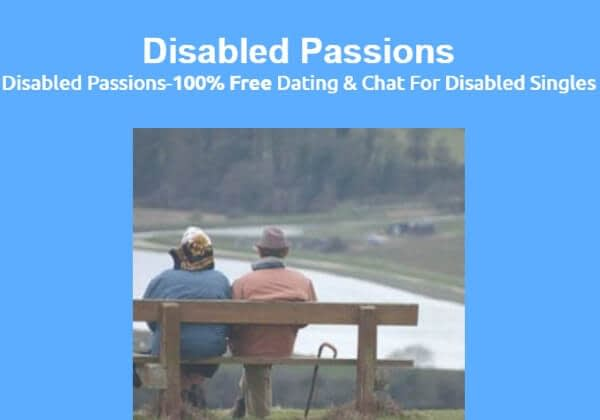 Disabled Passions is a free dating site and social network for disabled singles. An older couple is shown from the back sitting on a bench.
