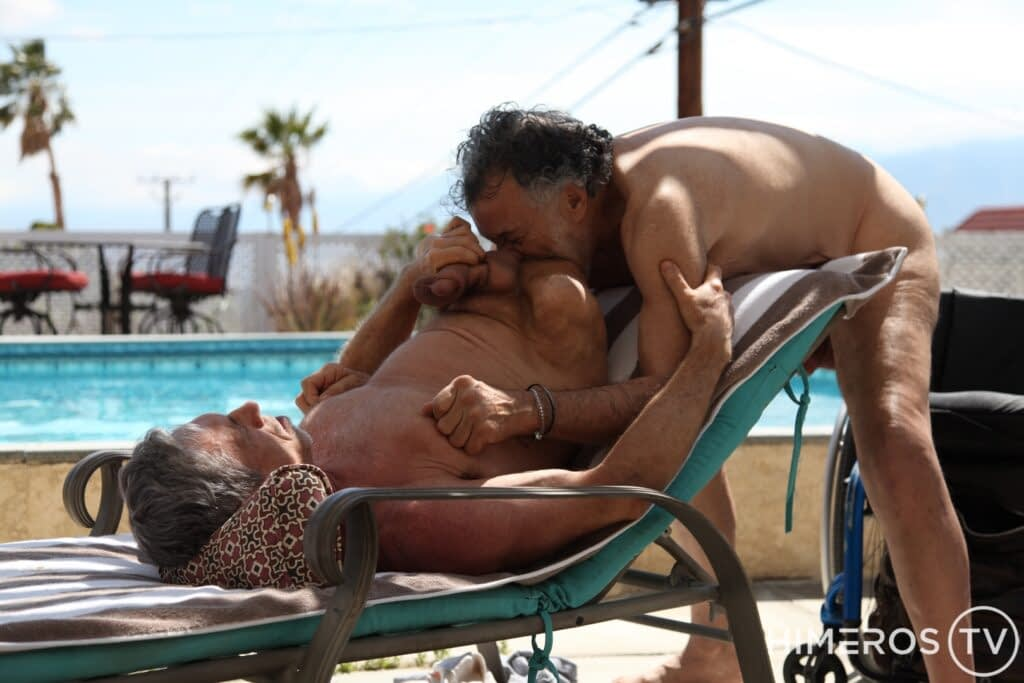 Two older men are filmed having sex, adding representation to the disabled gay porn category.